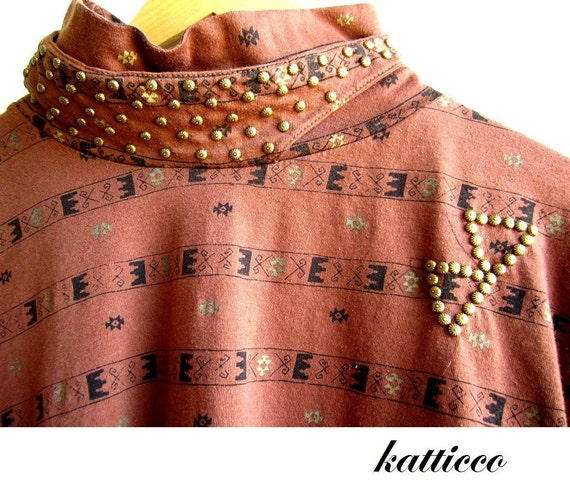 upcycled native american inspired shirt with gold studs M L