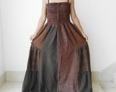 Smocked Brown Long Dress, Patch Work ,Up To Plus Size,100% Cotton Stone Wash, Unique