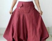 Harem Maroon Long Pants , Ninja, Yoga, 100% Cotton, Unique
