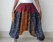 Harem Pants Patchwork, Ninja, Yoga,Unique,100% Cotton Print Stone Washed