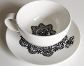 Queen Bee hand illustrated teacup and saucer