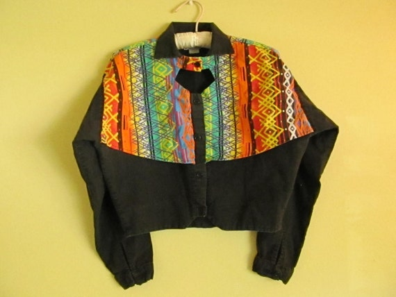 Neon Indian Cropped Western Shirt