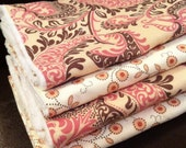 Baby Girl Burp Cloths- Set of 4- Pink/Brown with White Minky Dot- READY TO SHIP