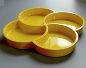 Vintage Dansk Designs Divided Tray Yellow Plastic