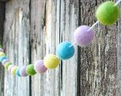 Spring Easter Felt Ball Garland, Pom Pom Garland, Nursery Decor, Bunting Banner, Party Decor, Baby Shower