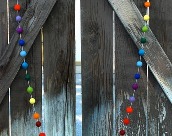 Rainbow Felt Ball Garland, Pom Pom Garland, St. Patrick's Day Decor, Nursery Decor, Bunting Banner, Party Decor, Baby Shower