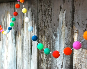 Birthday Felt Ball Garland, Pom Pom Garland, Nursery Decor, Bunting Banner, Party Decor, Baby Shower