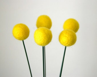 Billy Ball Flowers/ Set of 6, 18 inches / Felt Balls- Choose your colors
