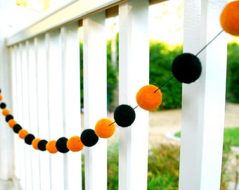 Halloween Felt Ball Garland, Felt Ball Garland, Pom Pom Garland, Bunting Banner, Party Decor
