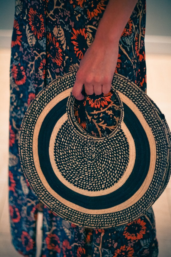 50s 60s Vintage HIPSTER Round Woven Straw PURSE TOTE