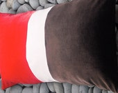 Brown Velvet Pillow Large Cushion Color Block Coral Pink Chocolate Brown