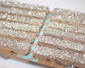 Mini German Glass Glitter Clothespins - Set of 12