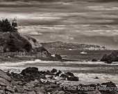 West Quoddy Head Lighthouse 2, 5x7 Fine Art Photography, Black & White Photography, Maine Photography, Landscape Photography - CindiRessler