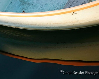 Row Boat Reflection, Fine Art Photography, Nautical Photography, Abstract Photography