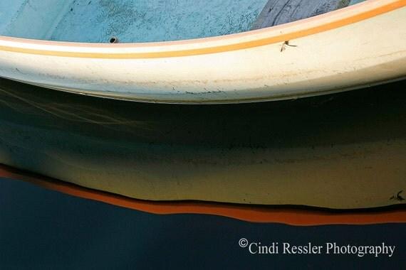 Row Boat Reflection, Fine Art Photography, Nautical Photography, Abstract Photography