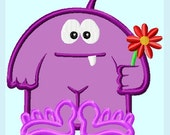 Cute Purple Monster APPLIQUE Embroidery Designs / 2 sizes   INSTANT DOWNLOAD
