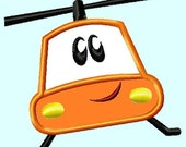 Cute Orange Helicopter  APPLIQUE Embroidery Design INSTANT DOWNLOAD