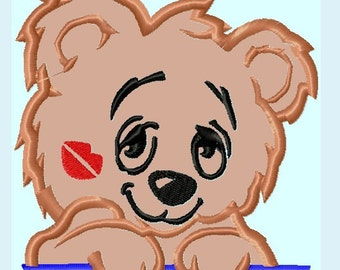 Cute Baby Bear Kiss APPLIQUE Embroidery Designs / 2 sizes     INSTANT DOWNLOAD