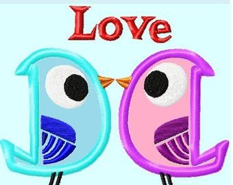 Cute Love Birds Applique Embroidery Designs INSTANT DOWNLOAD