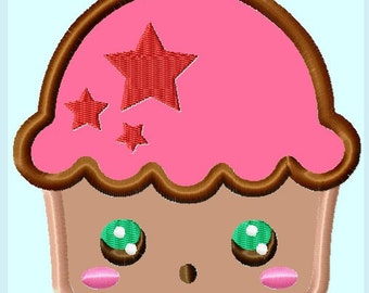 Cupcake with Stars Applique Embroidery Design Pattern