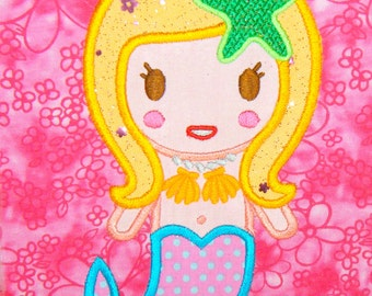 A Cute Mermaid Applique Embroidery Design      INSTANT DOWNLOAD