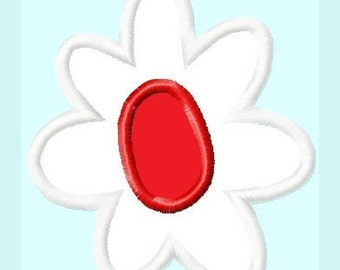 White Red Flower APPLIQUE Embroidery Design 3 sizes