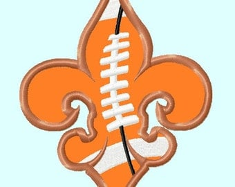 Fleur De Lis Football APPLIQUE Embroidery Designs 2 sizes  INSTANT DOWNLOAD