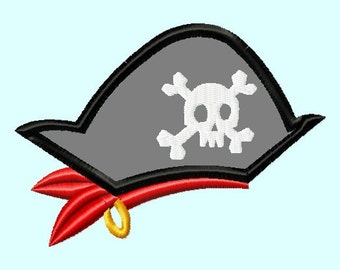 Pirate Hat APPLIQUE Embroidery Design   INSTANT DOWNLOAD
