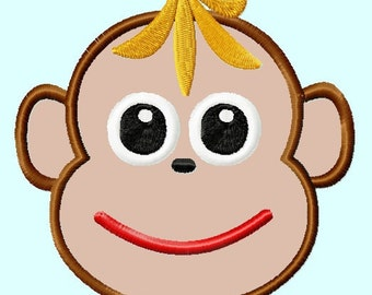 Cute Monkey with Banana Hat Applique Embroidery Design  3 sizes  4x4, 5x7, 6x10  INSTANT DOWNLOAD