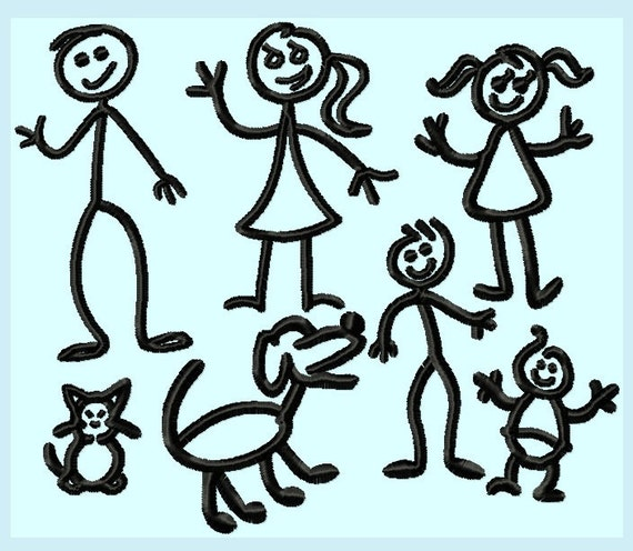 The Stick People Family Embroidery Designs 7 designs INSTANT DOWNLOAD
