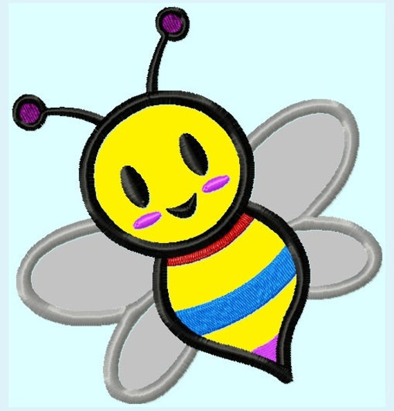 Cute Bumblebee Bee Embroidery Applique Design INSTANT DOWNLOAD