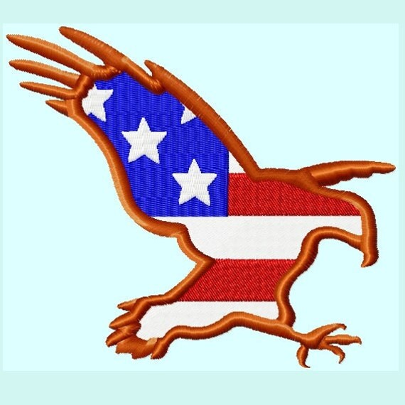 Eagle American Flag Embroidery Designs 3 Sizes INSTANT