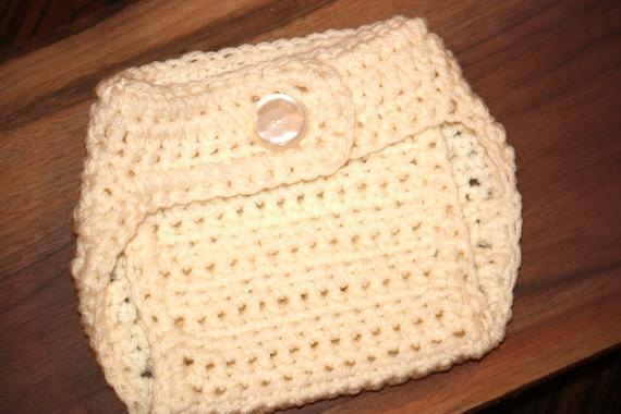 Diaper Cover, Crochet, Newborn, Crochet Baby Bloomers, Photo Prop - Cream