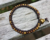 Hand-Made Brown Beaded Leather Bracelet