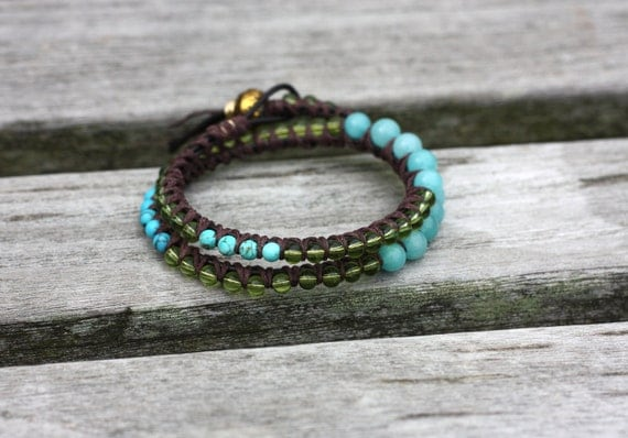Hand-Made Green Glass, Turquoise and Blue Jade Double Beaded Leather Wrap Bracelet
