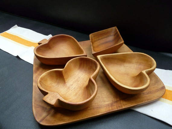 Haitian Hand-carved Wooden five-piece snack set