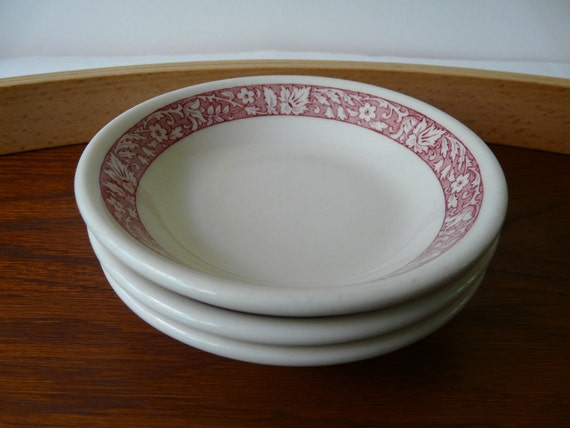 Shenango China Pattern SHO156, Small bowls, red floral rim pattern, set of three