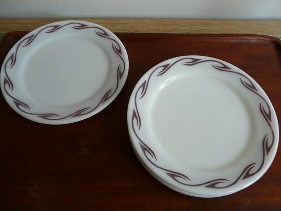 Pyrex, Brown Hook, plates, set of 5