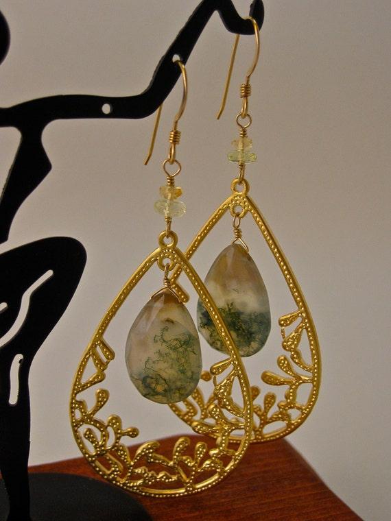 Moss Agate Amongst the Golden Reef Earrings