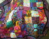 Gorgeous colourful Kaffe Fassett lap quilt or wall hanging