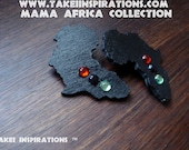 Red Black and Green Africa Earrings