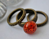 Victorian Stackable Steampunk Rings with Fried Marble