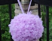 10 inch lavender chiffon petal pom fabric bloom ball ready to ship