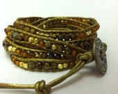 Treasure Chest -  Chan Luu inspired 5 wrap bracelet on green (Tota) metallic leather with gold, green and orange beads