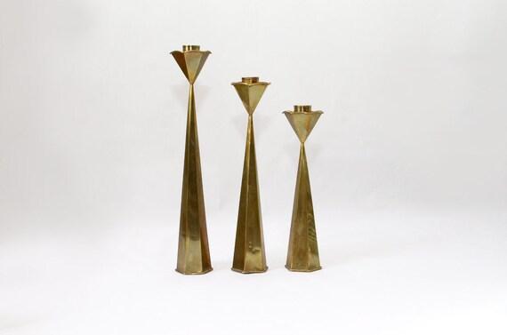 Danish Modern Brass Candlesticks Candle Holders