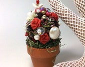 Red Rose And Pearl Blossom Topiary Shrubbery Loaded With Vintage Gems And Jewels