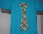 Baby Tie Shirt - Turquoise Gray Plaid