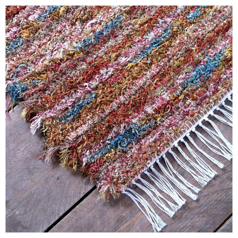 Handmade Rag Rug Multicolored Shag 24 X 36 By VermontRugFarm