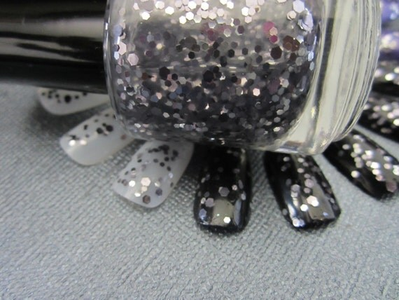 Blasted- Silver and Gunmetal Glitter Polish