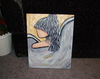 Beige Angel Girl with Ponytail Painting 16x20